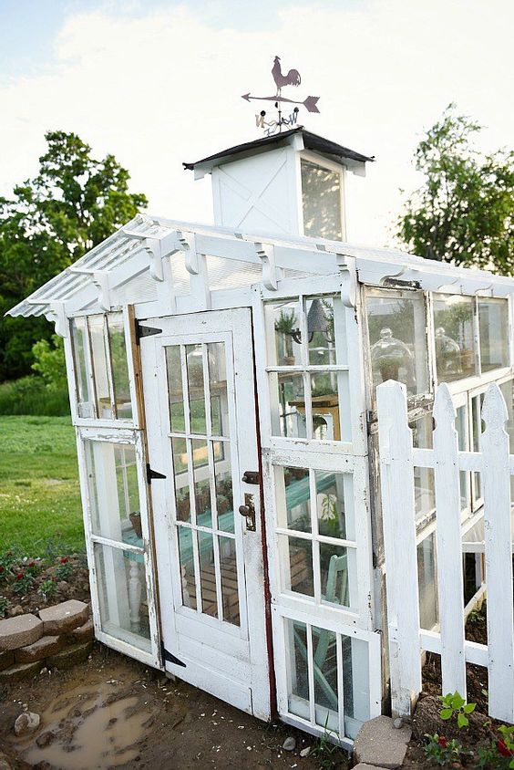 Greenhouses antiques and the o 39 jays on pinterest for Reclaimed window greenhouse