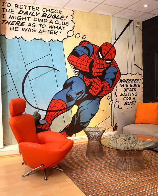 Comic books love and spiderman on pinterest for Comic book wallpaper mural