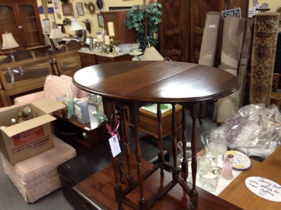 Small Gate Leg Tableu - solid walnut and very nice condition. Item 444-15. Price $225.00   - http://takeitorleaveit.co/2016/04/25/small-gate-leg-tableu/