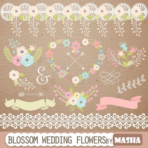 Flores de boda, Clipart and Flores de arte on Pinterest