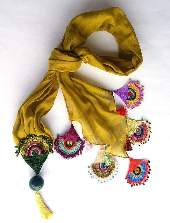 Crochet Scarf Accessories Women Crochet Lace Scarf by GULDENTAKI:
