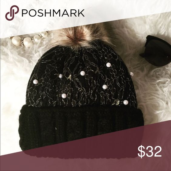 NWT Black and Gold pearl embellished beanie Black and Gold pearl embellished beanie Accessories Hats