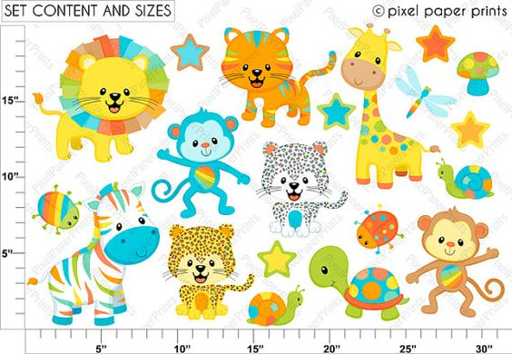 Colorful Animals Clipart Clip Art and Digital by pixelpaperprints