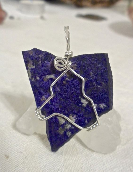 Manganese and Sugilite Pendant in Hammered by HeartSongHealings