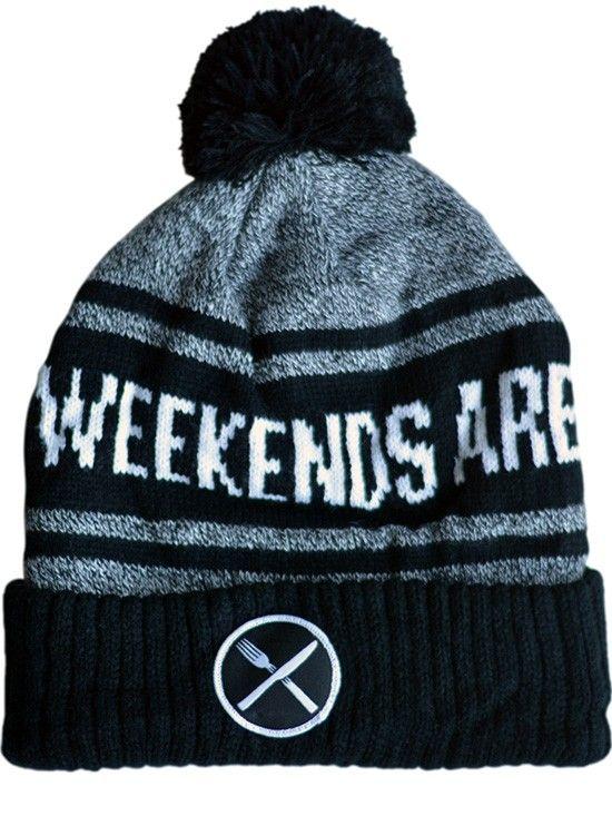 """Weekends are For Waffles"" Knit Pom Beanie by Pyknic (Black/Grey) #inked #inkedmag #inkedshop #christmas #holiday #sale #new #tattoo #waffle #beanie"