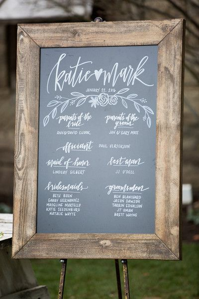 Modern calligraphy chalkboard wedding sign idea - framed chalkboard sign with modern calligraphy and hand-lettering {Lovers of Love Photography}