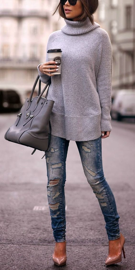 Winter fashion Boyfriend jeans and neutral sweater or christian louboutin pumps: