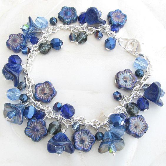 Blue Cluster Bracelet, Czech Glass Beads - Dark Blue, Navy Blue, Flower Bracelet, Blue Bracelet, Beaded Bracelet. $29.00, via Etsy.