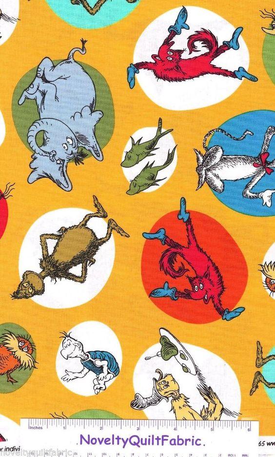 ... Character Cat Hat Grinch Fish Novelty Print Fabric Kaufman | Dr. seuss