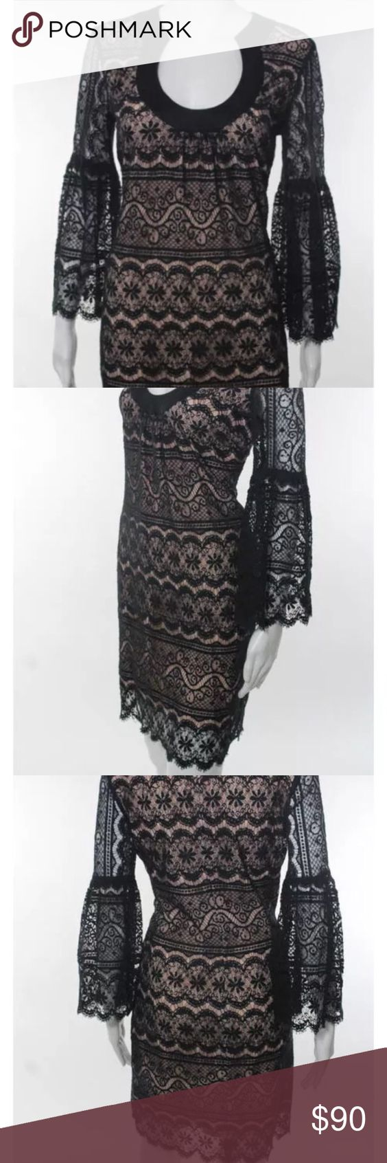 Trina Turk Dress Black Cotton Lace Dress Trina Turk Dresses Long Sleeve