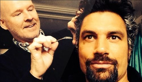 """ARROW Spoiler Alert!!! Applying Slade's grey"" -Manu Bennett"