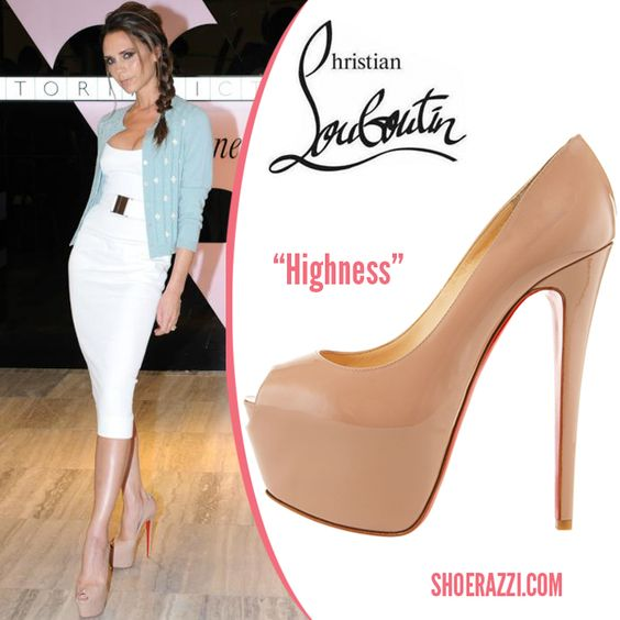 "christian louboutin replica usa - Victoria Beckham in Christian Louboutin ""Highness"" Nude Peep-toe ..."