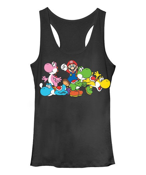 Look at this Heather Black Yoshi Group Racerback Tank - Juniors on #zulily today!