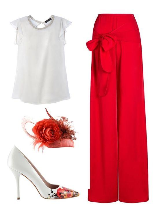 Look para invitada a bodas de 2015 con pantalón rojo tipo palazzo
