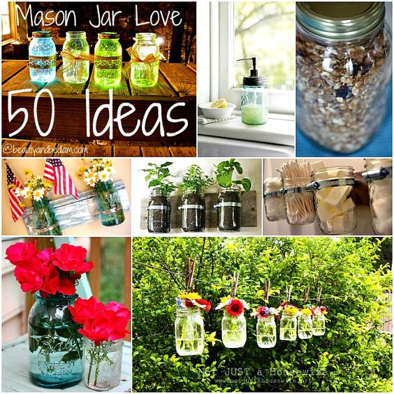 Over 50 fabulous ideas for Mason Jars. With everything from practical to Decorative to Organizing ideas, there is inspiration ...love it..