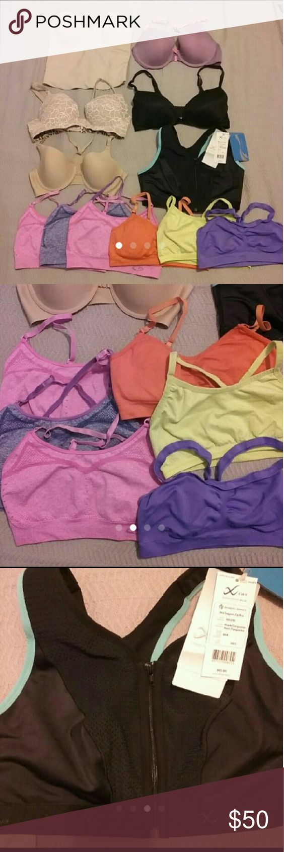 Bra Bundle All are 36C Good used condition No rips or stains Includes.... 6 Sports Bras (champion, NB & hanes) NEW ($65) CW-X Sports bra 3 Victoria's Secret Bras 1 Sweet Nothing bra (nude) 1 Apostrophe bra corset Intimates & Sleepwear Bras