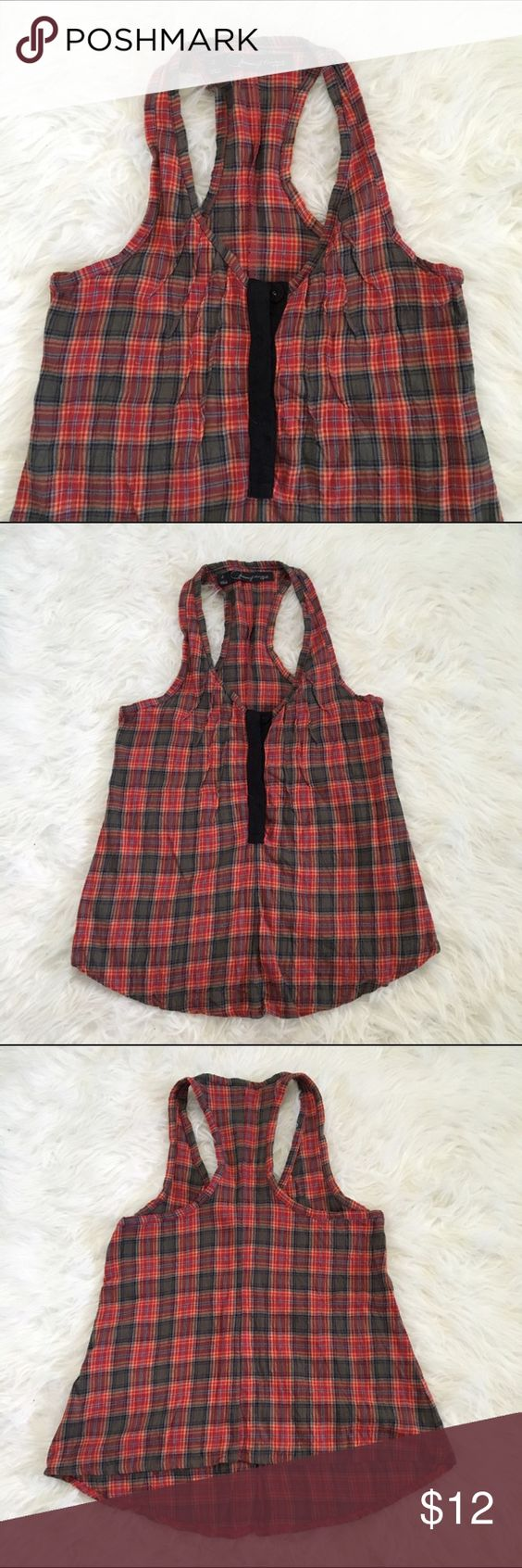 (shopbop PJK) plaid flannel racerback tank A unique flannel racerback tank perfect for layering in fall and winter. A scooped hemline in the front and straight across the back. Plaid colors are red, olive green, light blue, navy, and mustard yellow. There are 4 buttons / snaps down the front in navy. Brand is Patterson J. Kincaid Originals (PJK) from Shopbop. PJK Tops Blouses