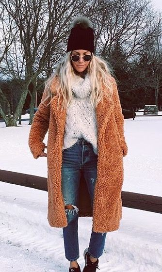 This long teddy peacoat is perfect for winter!