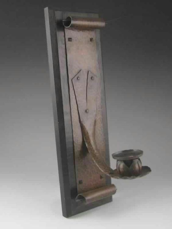 Benedict studio wall sconce candle holder arts for Arts and crafts candle sconces