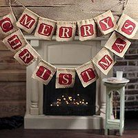 Pixnor MERRY CHRISTMAS Burlap Bunting Banner Flags for Christmas Party