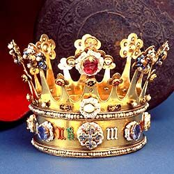 Lady Margaret Plantagenet Crown worn at her wedding on 9th July 1468 to Charles the Bold of Bruges, it bears her name and the white roses of York in coloured enamel and is encrusted with pearls