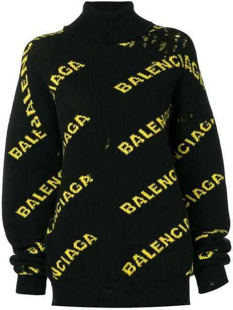 di conseguenza asse Come  Balenciaga Maglione a Collo Alto Con Logo - Farfetch | Balenciaga, Maglioni,  Collo alto