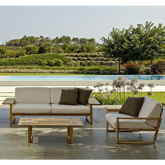 Point Lineal Sofa Outdoor Teak Patio Lounge Sofa