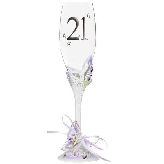 21st Butterfly Champagne Glass