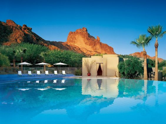 Surrounded by cacti and glowing red sandstone, this stylish desert retreat features 105 casitas, adorned in contemporary furnishings and works by local artists. Downtown Scottsdale is just a five-minute drive south, but it�s hard to break away from the personality-driven rooms, the destination spa, the infinity pools, and the surrounding nature trails.
