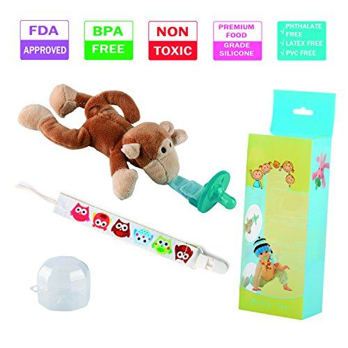 Baby Kid Pacifier Holder Hanging Removable Fun Cute Plush Animal Doll Toy Play