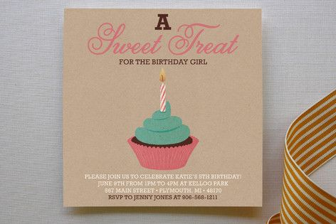 Girlie Cakes Children's Birthday Party Invitations. Such a cute invite! This may be the one...via minted.com.