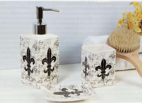 Bathroom Set 3 pc set Ceramic Soap Lotion Dish Tumbler Fleur De Lis Theme New #Midwood