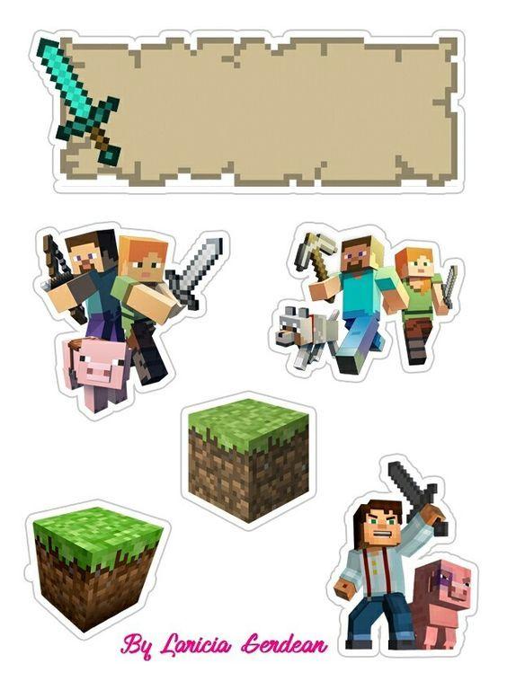 Topo De Bolo Minecraft Modelos De Tags Para Imprimir With