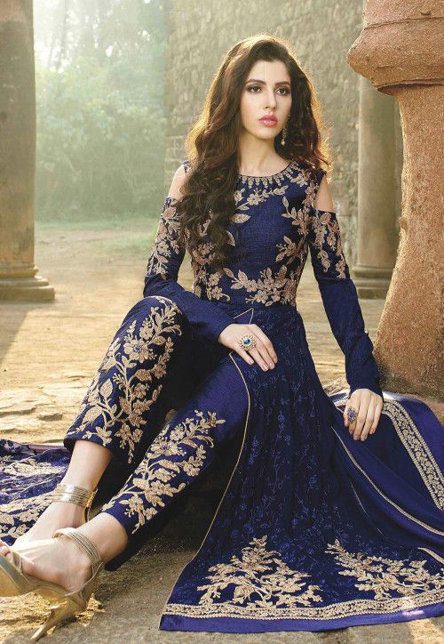 Embroidered Georgette Abaya Style Suit In Blue Indian Fashion Dresses Bridal Lehenga Blouse Design Designer Party Wear Dresses