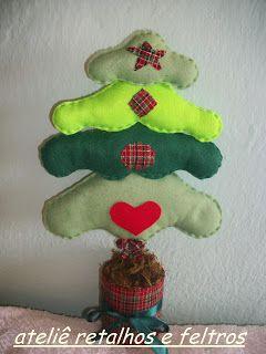 Ateliê Retalhos e Feltros: pinheiro natalino em feltro,ou arvore de natal