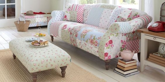 Very vintage, shabby chic style patchwork sofa