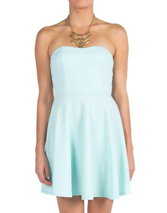 Sweetheart Textured Skater Dress - Mint - Medium