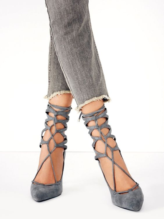 Currently crushing on these grey suede lace-up heels. They look great here with jeans, but are...: