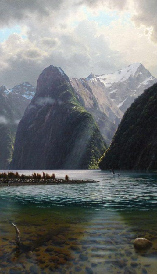 Kune kune pigs originate from stunning New Zealand : Milford Sound, South Island, New Zealand