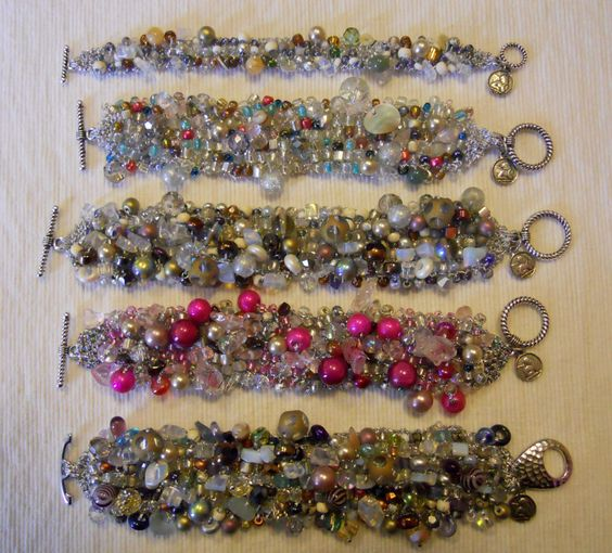 Bracelets, knitted by hand with 266 stone, glass and assorted beads.