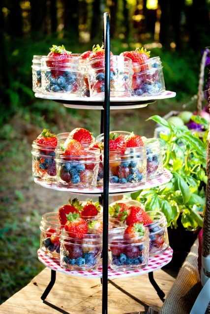 Pretty jars of fruit at a Farm Tea Party!  See more party ideas at CatchMyParty.com!  #partyideas #farm: