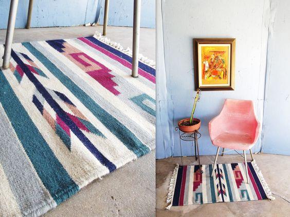 "Vintage Southwestern Woven Rug  Ethnic Rug Bright Colors Kilim 37"" x 24"""