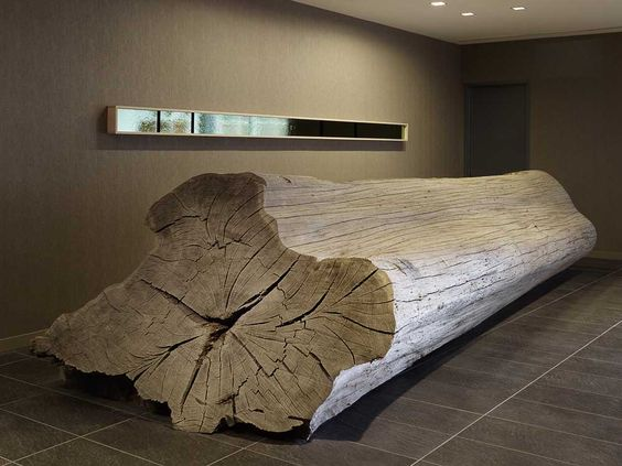 odada design hotel front desk is a naturally weathered 25 ft long eucalyptus log chic front desk office interior design ideas