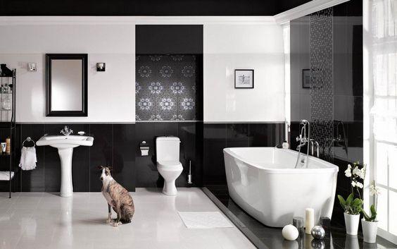 carrelage salle bain noir blanc motifs floraux finition - Photo Carrelage Salle De Bain Noir Et Blanc