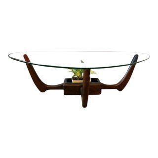 Kroehler Mid Century Modern Glass Top Coffee Table With Planter
