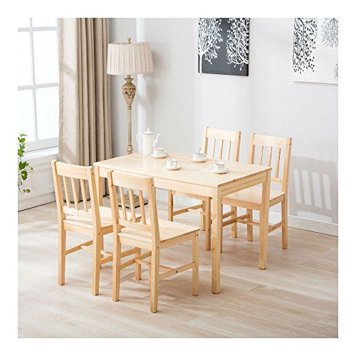 5 Piece Pine Wood Dining Table And Chairs Dining Table Set Kitchen Dining Room Kitchen Table Settings Wood Kitchen Table Set Wood Dining Table Kitchen table and chairs cheap