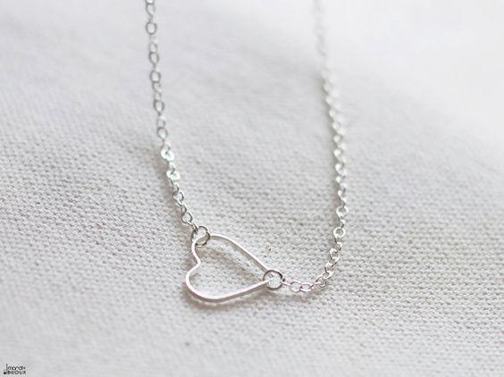 Silver heart necklace tiny thin open heart choker by mardiBIJOUX, $14.00