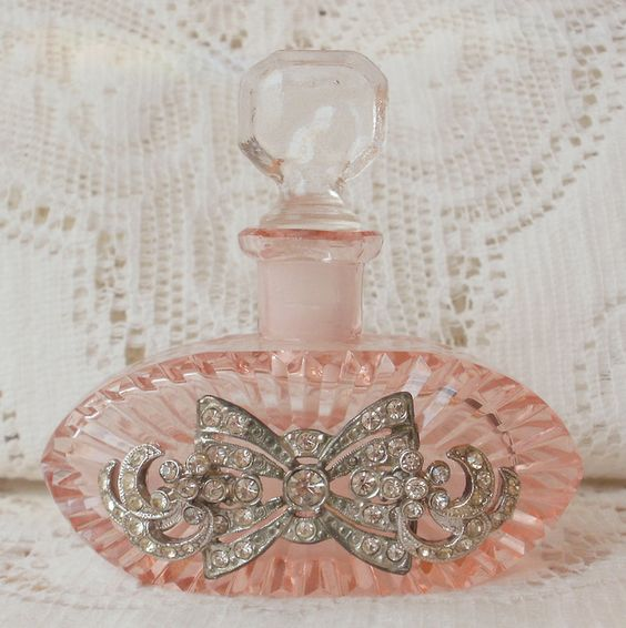 Pink Czech Vintage Rhinestone Embellished Perfume Bottle