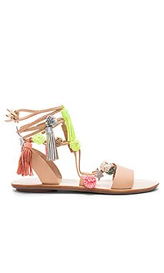 Loeffler Randall Woman Lace-up Pompom-embellished Leather Sandals Size 7 E9Sd6A5FhB