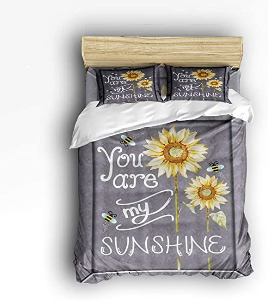 4 Piece Polyester Fabric Duvet Cover Set With Zipper Closure King You Are My Sunshine Bees Sunflowers Dayb Daybed Bedding Sets Daybed Bedding Duvet Cover Sets